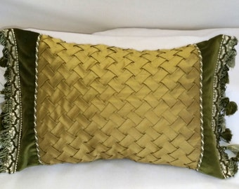 "10"" x 18"" Basketweave Lumbar Throw Pillow Cover with Fringe"