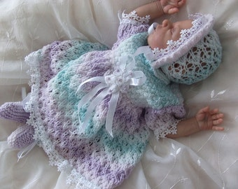 """Knitting Pattern PDF for prem/newborn baby dress outfit, will fit 18"""" reborn"""