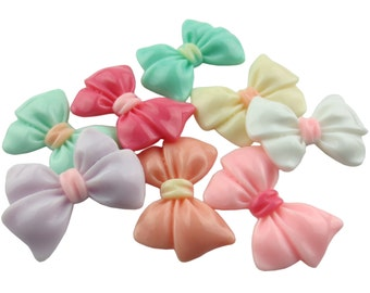 100pcs 23mm x 35mm Pastel Color Resin Bow Ornament Charm Trinket