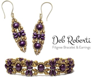 Filigree Bracelet & Earrings beaded pattern tutorial by Deb Roberti