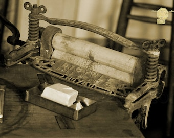 Antique Laundry Ringer and Handmade Lye Soap Photograph in Sepia Photography by Colleen Cornelius Bring the Outdoors In Zen Home Decor