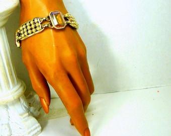 Flashy Link Bracelet, 1960s, 2 Tone Large Amber PINK Rhinestones on Trashy Light Gold Links w Tiny Pearls, Mid Century Glam