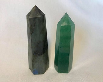 2 Crystal Towers - Labradorite and Green Aventurine