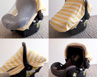 SUNSHINE STRIPE || Screen Car Seat Canopy - Car Seat Cover - Stretchy Car Seat Cover - Infant Baby Carrier Cover - Carseat Cover