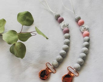 Silicone Rose Marble Teething Pacifier Clip