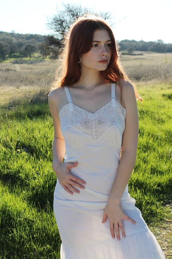 MEADOW Vintage Slip Dress 1940's Intimates White Lace Nylon Slip Dress Undergarment Layering Size 34