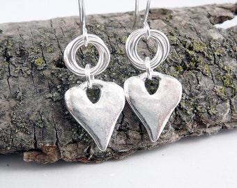 Heart Shaped Earrings, Silver Dangle Earrings, Love Jewelry, Romantic Gifts, Love Earrings, Heart Jewelry, Love Gifts, Silver Drop Earrings