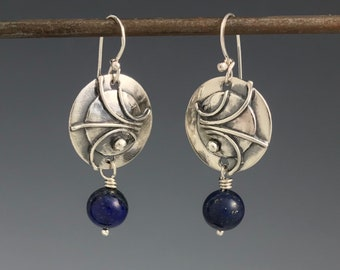 Sterling silver earrings, Lapis beads, layered style earrings, circles, Regina Marie Designs,