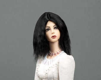 """Medium lenght black alpaca wig for SD, supergem or other doll with 8-9"""" head"""