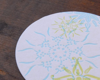 Set of 4 Letterpress Snowflake/Flower Coasters