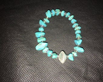 Turquoise Rock Like Beaded Bracelet
