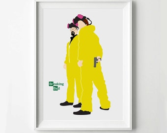 Breaking Bad Poster Print Walter White Jesse Pinkman - TV poster, Minimalist print, Digital Art Print