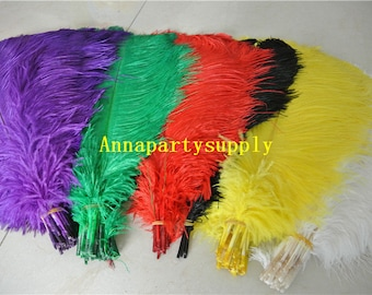 50 pcs 18-20inches white black red orange gold ivory lime green pink purple blue brown yellow ostrich feather plume
