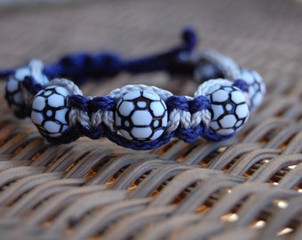 Navy and Gray Soccer bracelet /  Soccer Jewelry / SoccerTeam / Sports Jewelry / Sports