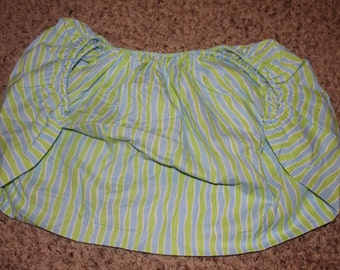 Blue, Green, and White Striped Fitted Pack and Play Sheet