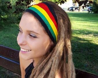 Rasta Headscarf Headband Reggae Hippie Coachella Headband Rasta Headwear Rastafarian Headband Jamaica Hairband Rasta Dreadlocks Burning Man