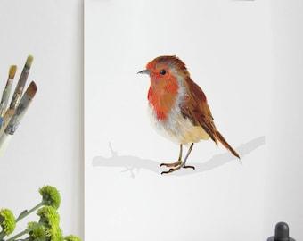 Robin Bird Print, Robin Print, Illustration Bird Print, Bird Art Print, Nature Print, Bird Print, Wall Print, Wildlife, Wildlife Art Print