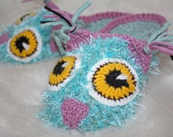 """Crochet Owl Slippers Handmade Made to order Slippers are handmade in """"mint"""" WOMENS Owl Ballet Slippers"""