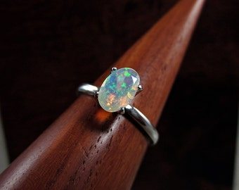 Fire Opal Ring, Rainbow Opal Ring, Fire Opal Engagement Ring, White Opal Ring, Ethiopian Opal Ring, Rainbow Gemstone, Oval Opal Solitaire