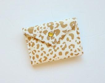 Leopard Gift Card Holder, Gift card holder, Business Card Holder, Gift for him - Gold print on white