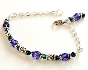 Bohemian Charm Beaded Bracelet, Cobalt Bue, Iridescent Green, Silver Beads, Chain Bracelet, Dangling Charm, Ankle Bracelet, Delicate Style