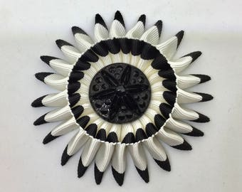 Black and White Beaded Cocarde Cockade With Glass Button