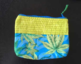 green leaves zippered pouch