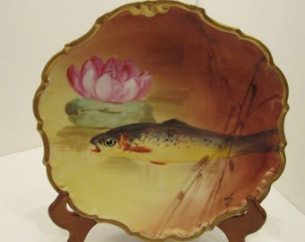 Limoge Trout Cabinet Plate - LDBC Flambeau - c. 1890-1910 Artist Signed