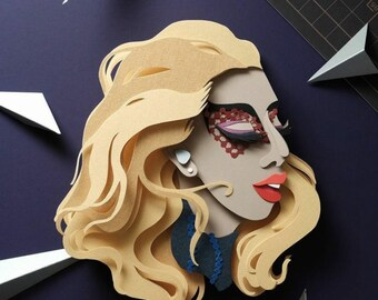 Lady Gaga Papercut Art