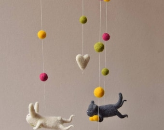 Needle  Felted Bunny Mobile,  Bear Mobile, Cat mobile