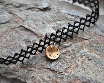 Moon Bronze Lace Choker- Black Gold Choker Necklace- Space Moon Choker Boho Style