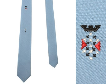 1960s rayon blend tie • palm beach light blue embroidered necktie