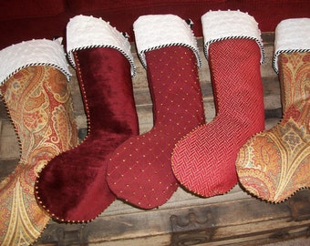 Five (5) Amazing Wine Textured Designer Christmas Stockings 2018 Collection