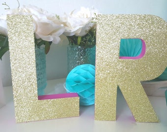 Painted letter + one side glitter - candy bar-initials Groom-Wedding decoration