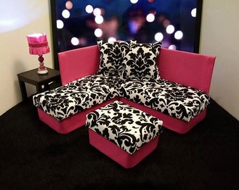 Playscale / 1:6 Scale  Fashion Doll Furniture for Barbie / Monster High /Blythe -  Damask Sectional Sofa