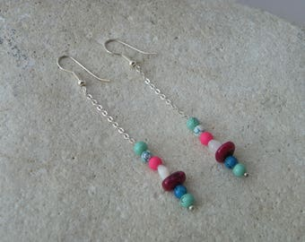 Chain and 3 pearls earrings