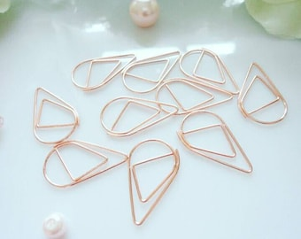 Rose Gold - Blue - Pink - Gold Paper Clips - Metallic - Teardrop - Drop - Metal - Clips - Set of 10