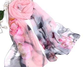 light pink scarf, pink and gray scarf, floral pattern scarf, scarves with flowers, gray and pink scarf