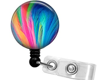 Rainbow Feathers ID Badge Reel -  Name Badge Holder 240