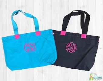 Monogrammed Tote Bag, Personalized Nylon Bag, Monogrammed Beach Bag, Summer Tote Bag, Large Tote Bag, Monogram Large Purse