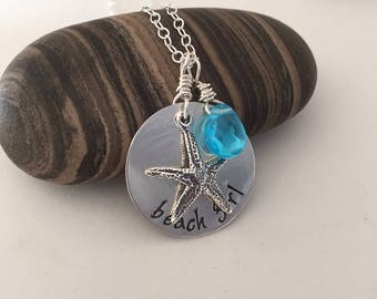 beach girl, hand stamped,personalized sterling necklace
