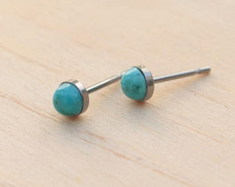 Titanium Stud Earrings Turquoise Gemstone / 5mm Cabochon Bezel Set / Hypoallergenic Earrings Studs