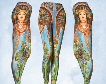 Boho leggings, yoga pants, gypsy clothing, Art Nouveau leggings, art to wear, Mucha print, Earthy colors, blue and amber. Flattering legging