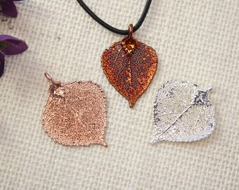 SALE Leaf Necklace, Real Leaf Necklace, Copper Leaf, Rose Gold, Silver Leaf, Christmas Gift, Gift Set, Teacher Gift, Bookmark, SALE287
