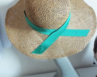 Vintage Ladies Hat Real Straw Wide Brim Hat with green banding excellent condition
