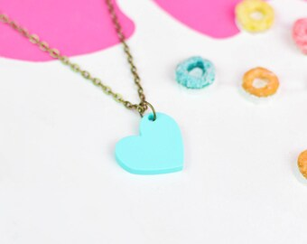 Mint Green Heart Necklace for Valentines Day | Valentines Gifts For Her | Jewellery for Sensitive Skin