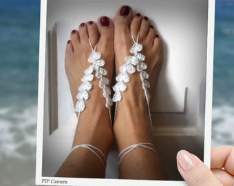 White beach wedding barefoot sandals crochet barefeet sandals romantic date belly dance hearts Valentine's day gift