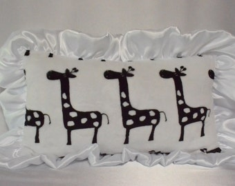 Baby Pillow, Minky Pillow, Soft Pillow, Pillow with ruffles.