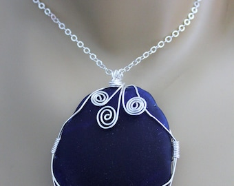 Large Authentic Deep Blue Sea Glass Wire Wrapped Pendant with Sterling Silver Chain, One Of A Kind Pendant, Beach Glass Pendant