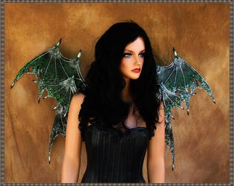 Adult Dragon Wings**Opaque, Textured Green/Black/Silver/Fairy**FREE SHIPPING**Costume/Cosplay/Masquerade/Photography/Gothic/Halloween